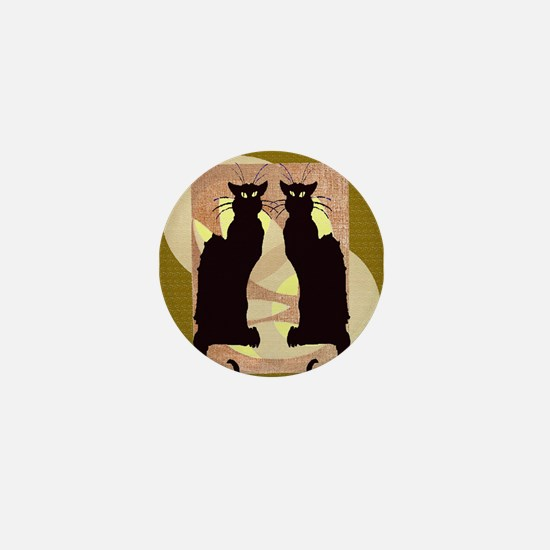 Twin Black Cat Abstract Mini Button