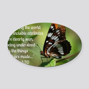 Butterfly Romans 1:20 Oval Car Magnet