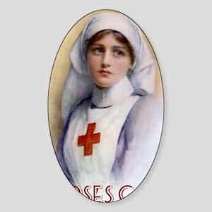 Nurses Care Shoulder Tote Bag Sticker (Oval)