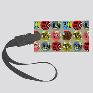 RN Colorful Circles Nurse Should Large Luggage Tag