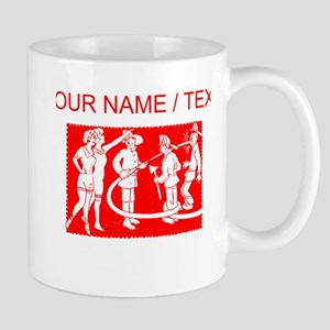 Custom Vintage Fireman Stamp Red Mugs