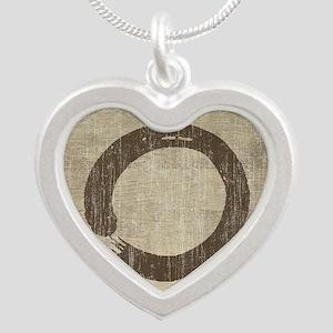 Vintage Enso Symbol Silver Heart Necklace