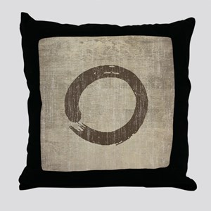 Vintage Enso Symbol Throw Pillow