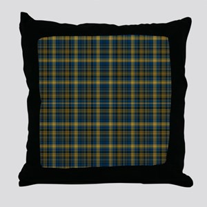 Colorful Teal and Yellow Tartan Throw Pillow