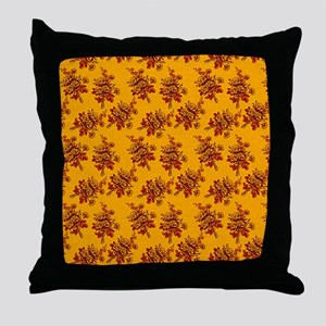 Old Gold and Red Roses Throw Pillow
