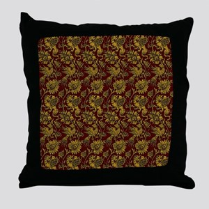 Golden Dragons on Red Throw Pillow