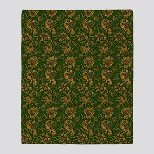 Green and Gold Dragons Throw Blanket