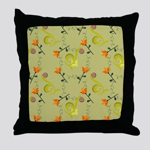 Olive and Orange Colorful Throw Pillow