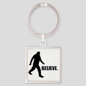 BELIEVE IN BIGFOOT Square Keychain
