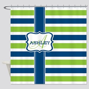 Blue and Lime Stripes Monogram Shower Curtain