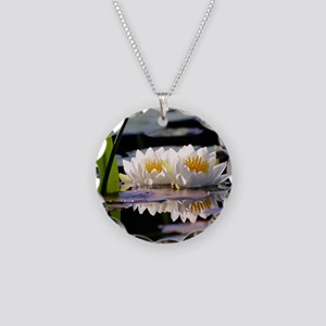 Lily Pad and Flower Necklace Circle Charm