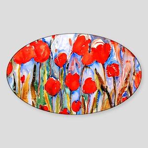 Red Tulip Razzle Dazzle Sticker (Oval)