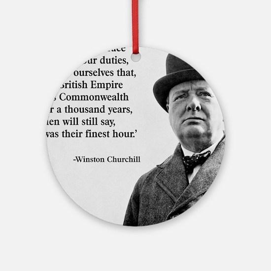 Winston Churchill British Empire Qu Round Ornament