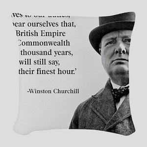 Winston Churchill British Empi Woven Throw Pillow