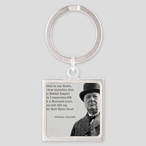 Winston Churchill British Empire Q Square Keychain