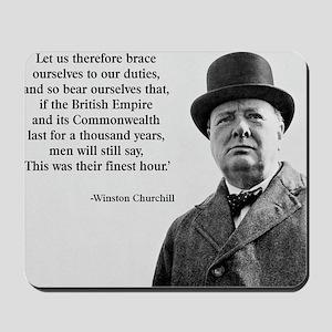 Winston Churchill British Empire Quote Mousepad
