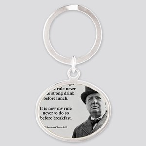 Winston Churchill Alcohol Quote Oval Keychain