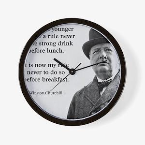 Winston Churchill Alcohol Quote Wall Clock