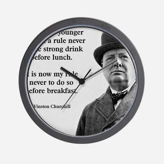 Winston Churchill Alcohol Quote Wall Clock