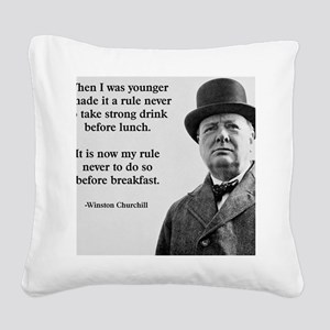 Winston Churchill Alcohol Quo Square Canvas Pillow