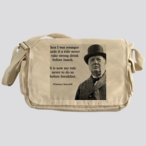 Winston Churchill Alcohol Quote Messenger Bag
