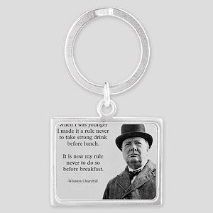 Winston Churchill Alcohol Quote Landscape Keychain
