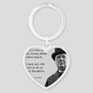 Winston Churchill Alcohol Quote Heart Keychain