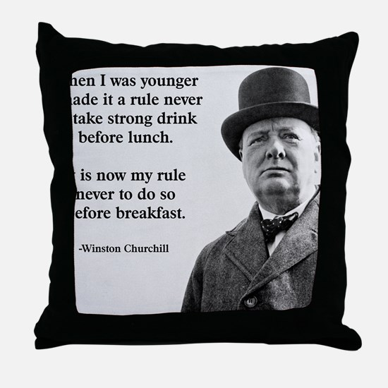 Winston Churchill Alcohol Quote Throw Pillow