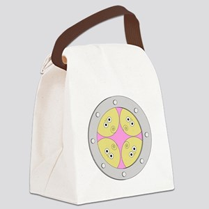 Porthole Quads With White Text Canvas Lunch Bag