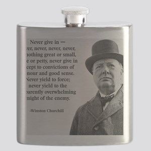 Never Give In Churchill Quote Flask