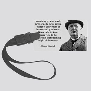 Never Give In Churchill Quote Large Luggage Tag