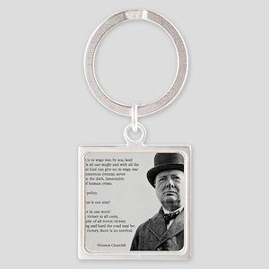 Winston Churchill Victory Quote Square Keychain