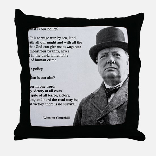 Winston Churchill Victory Quote Throw Pillow