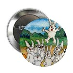 """Bunny Rabbits Jump 2.25"""" Button (100 pack)"""