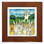 Bunny Rabbits Jump Framed Tile