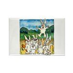 Bunny Rabbits Jump Rectangle Magnet (10 pack)