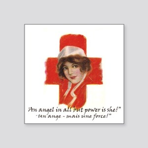 """French Red Cross Poster Nur Square Sticker 3"""" x 3"""""""