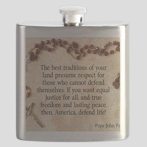 Pope John Paul Defend Life Flask