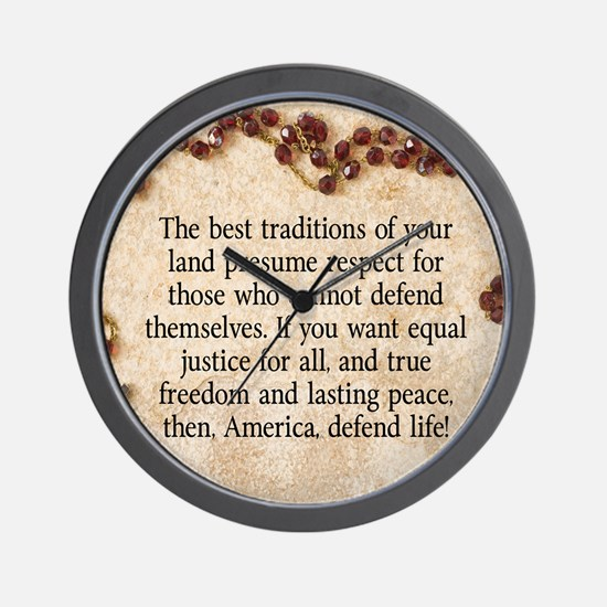 Pope John Paul Defend Life Wall Clock