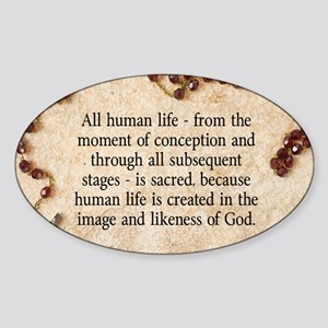 Catholic Pro-Life Quote Sticker (Oval)