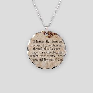 Catholic Pro-Life Quote Necklace Circle Charm