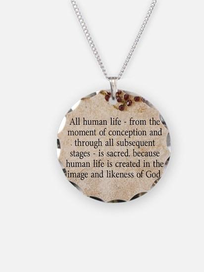 Catholic Pro-Life Quote Necklace
