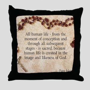 Catholic Pro-Life Quote Throw Pillow