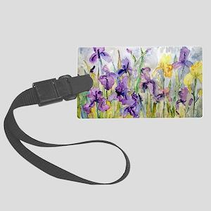 Purple and Yellow Iris Romantic  Large Luggage Tag