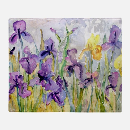 Purple and Yellow Iris Romantic Ruff Throw Blanket