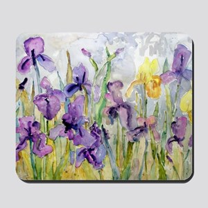 Purple and Yellow Iris Romantic Ruffles Mousepad