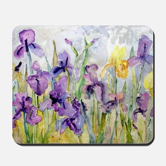 Purple and Yellow Iris Romantic Ruffles Mousepad