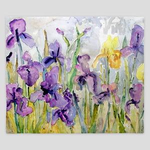 Purple and Yellow Iris Romantic Ruffles King Duvet