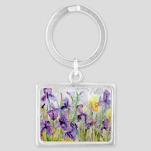 Purple and Yellow Iris Romantic Landscape Keychain
