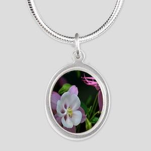 columbine Silver Oval Necklace